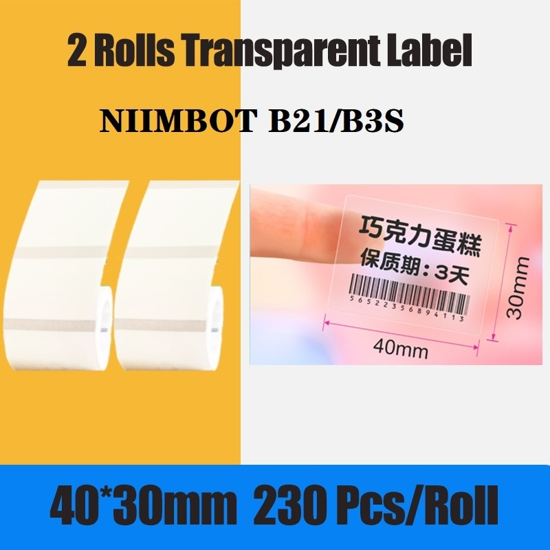 Niimbot B3S/B21 Thermal Barcode Label Paper Transparent Color Self-adhesive Waterproof Oil-Proof Tear Resistant Paper For Print
