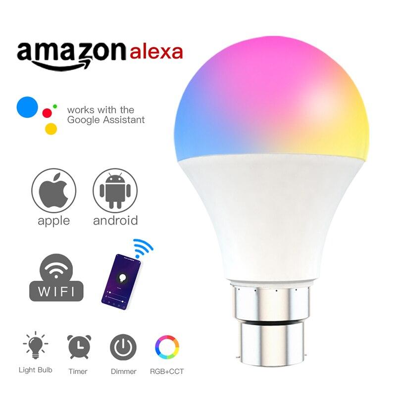 WiFi ampoule intelligente 15W 260V E27 LED lampe rvb fonctionne avec Alexa/Google accueil Support App télécommande CCT blanc ampoule à intensité variable