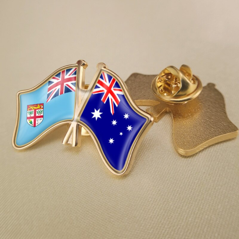 Fiji e austrália cruzados/duplo/amizade bandeiras lapela pinos/broche/emblemas