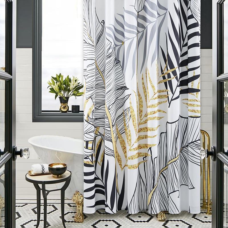 Luxury Leaves Shower Curtain Polyester Waterproof Bathroom Shower Curtain Sets Telescopic Rod Douchegordijn Bathroom Accessories enlarge