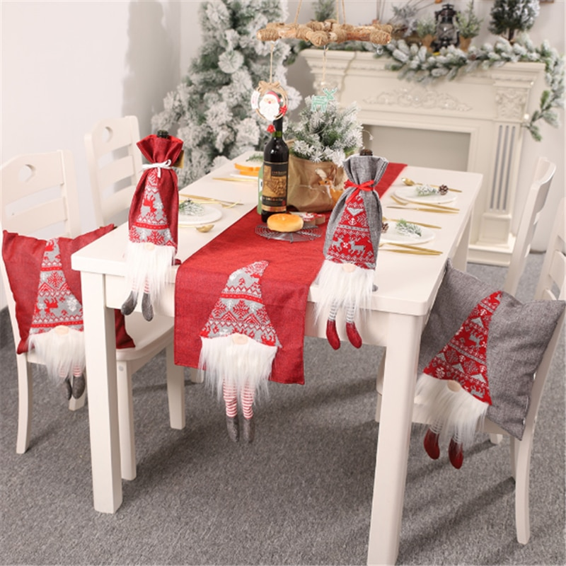 2020 Christmas Decorations Rudolph Table Runner Creative three-dimensional Table Decoration Tablecloth Placemat For The Elderly
