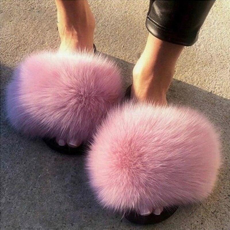 ¡Novedad del 2020! Zapatillas peludas para mujer, zapatos de mujer, bonitas sandalias mullidas con pelo de zorro de peluche, Zapatillas de piel para mujer, pantuflas cálidas para Invierno para mujer