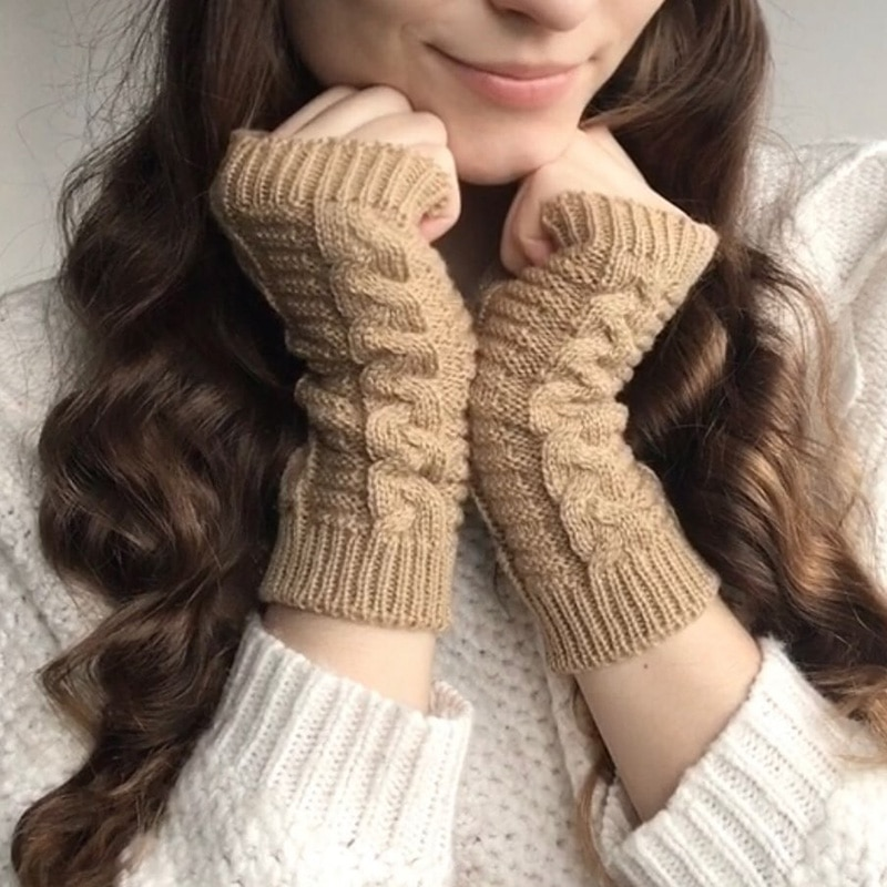 Women Half Finger Knitting Gloves for Woman Winter Soft Warm Knitting Arm Work Glove Soft Warm Mittens Fingerless Girl Gloves
