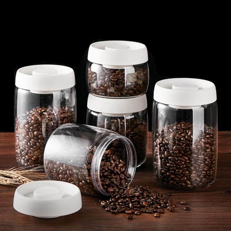 Food Coffee Beans Storage Bottles & Jars with Cover Plastic Vacuum sealed Tank Storage Press and exhaust storage