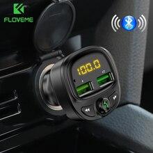 FLOVEME USB voiture chargeur de téléphone Bluetooth 5.0 lecteur MP3 allume-cigare fente FM 3.4A double USB chargeur de voiture TF carte musique voiture Kit