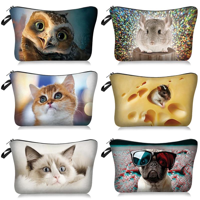 Cute Cartoon Dog Cat Cosmetic Bag Pouch Printing Girl Gift Toiletry Tool Animal Makeup Bag Travel Ca