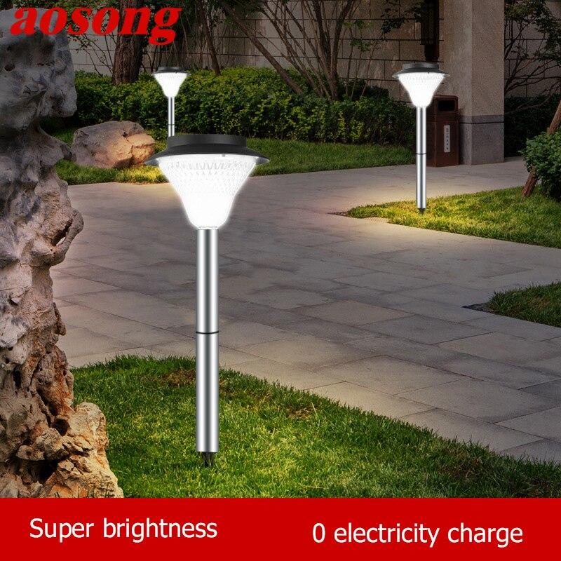 AOSONG-مصباح حديقة LED يعمل بالطاقة الشمسية ، مقاوم للماء وفقًا لمعيار IP65 ، إضاءة زخرفية خارجية ، مثالية للحديقة أو الفناء أو الحديقة.