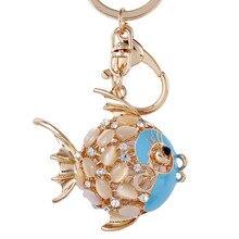 Cristal strass poisson porte-clés joli Animal marin poisson rouge porte-clés femmes sac suspendu pendentif breloques porte-clés