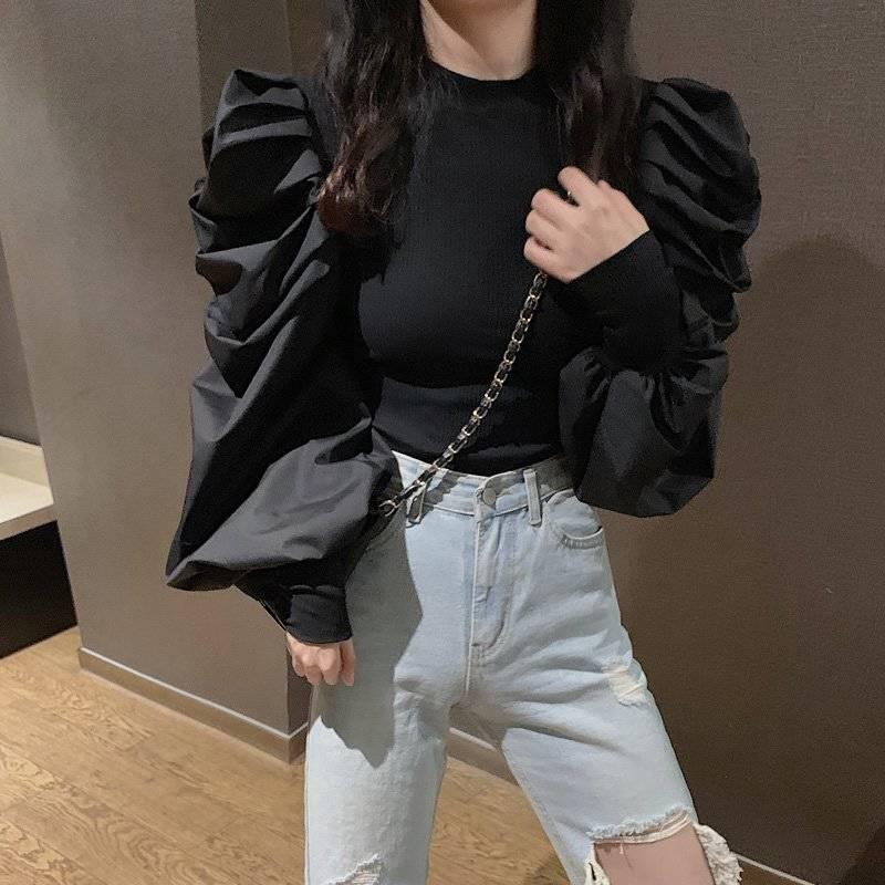 Woherb moda coreana otoño nuevo negro jerseys mujeres medio cuello alto manga larga Puff jerseys de parches lisos Slim sudadera