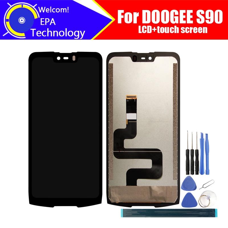 6.18 بوصة Doogee S90 شاشة الكريستال السائل + مجموعة المحولات الرقمية لشاشة تعمل بلمس 100% الأصلي LCD + اللمس محول الأرقام ل S90 + أدوات