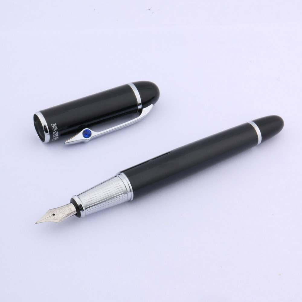 9013 negro con azul plata con diamantes Trim pluma estilográfica mediana