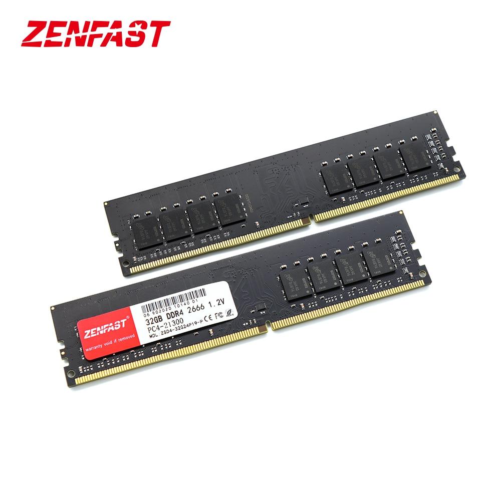 ZENFAST DDR4 سطح المكتب 8GB 32GB الذاكرة 2133 2400 2666MHz ذاكرة الوصول العشوائي ميموريا Dimm عالية الأداء للكمبيوتر ثنائي القناة