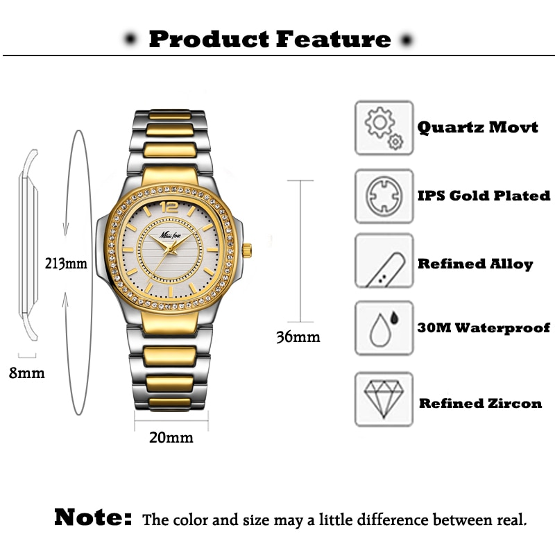 MISSFOX Two-Tone Watch Women Diamond Bezel Casual Business Round Analog Lady Watch Steel Bracelet Imported Japan Quartz Watch enlarge