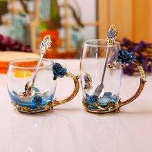 Émail tasse à café tasse à thé 3D Rose papillon verre tasse à café cadeau De mariage élégant sculpté tasse avec cuillère Tazas De café LBShipping
