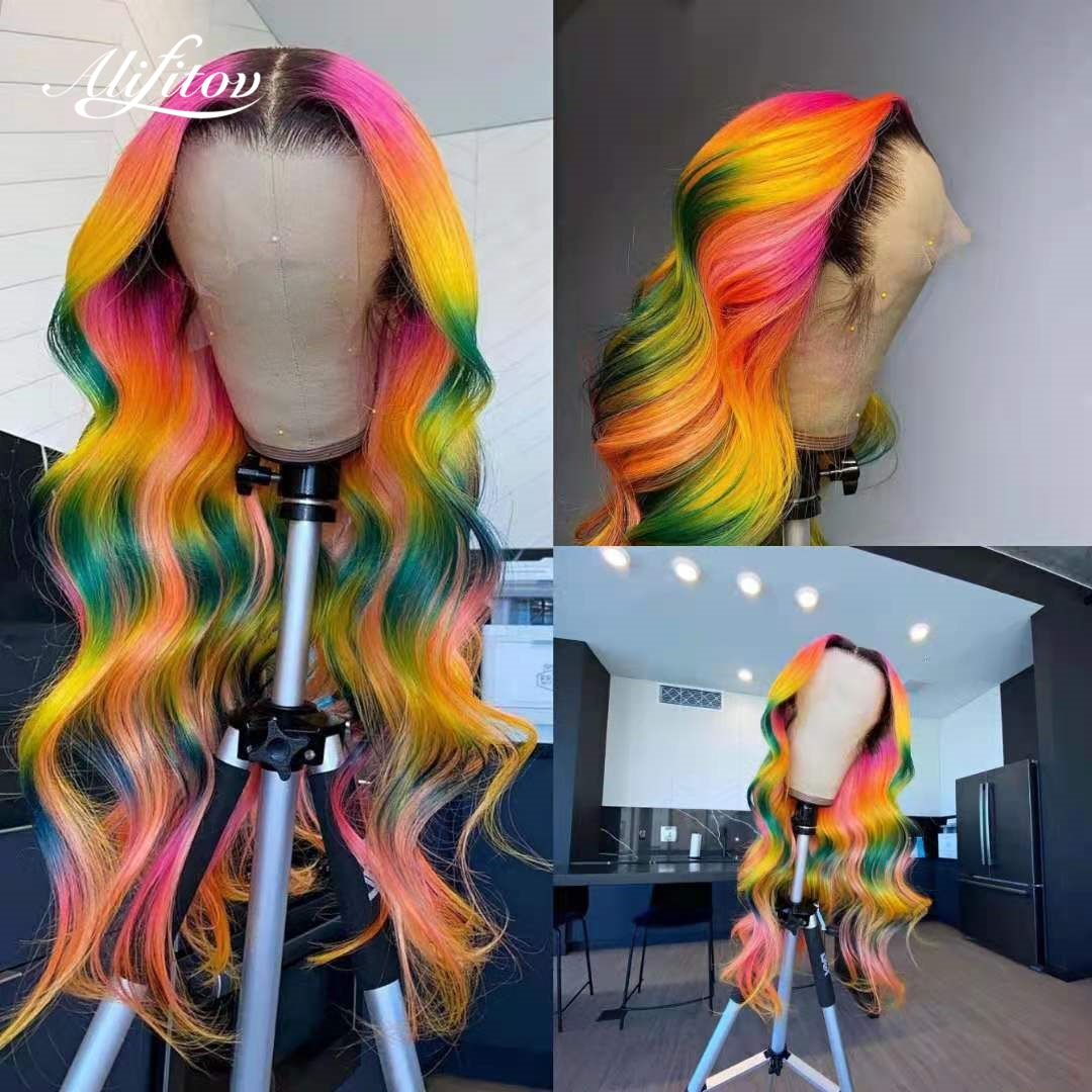 ALIFITOV Rainbow Ombre Lace Front Wig Human Hair Body Wave Wigs Remy Hair Pink Yellow Green Colored Human Hair Wigs For Women