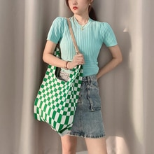 Female Clash Color Plaid Woolen Knitted Shoulder Wrist Bags Vintage Chic Big Capacity Tote Handbag L