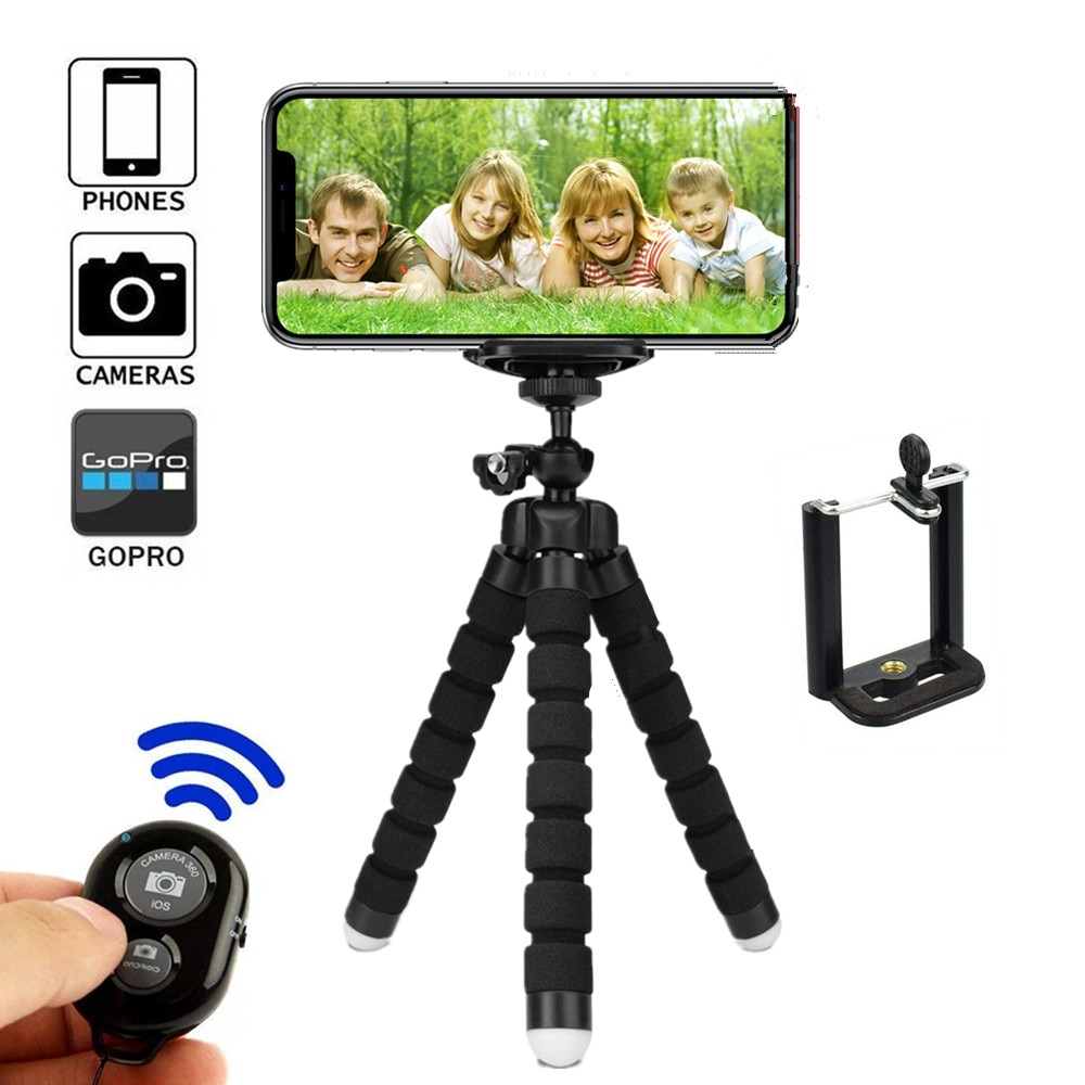 Flexible Tripod for Phone Holder Bluetooth Remote Selfie Stick for Phone Tripod with Clip Wireless S