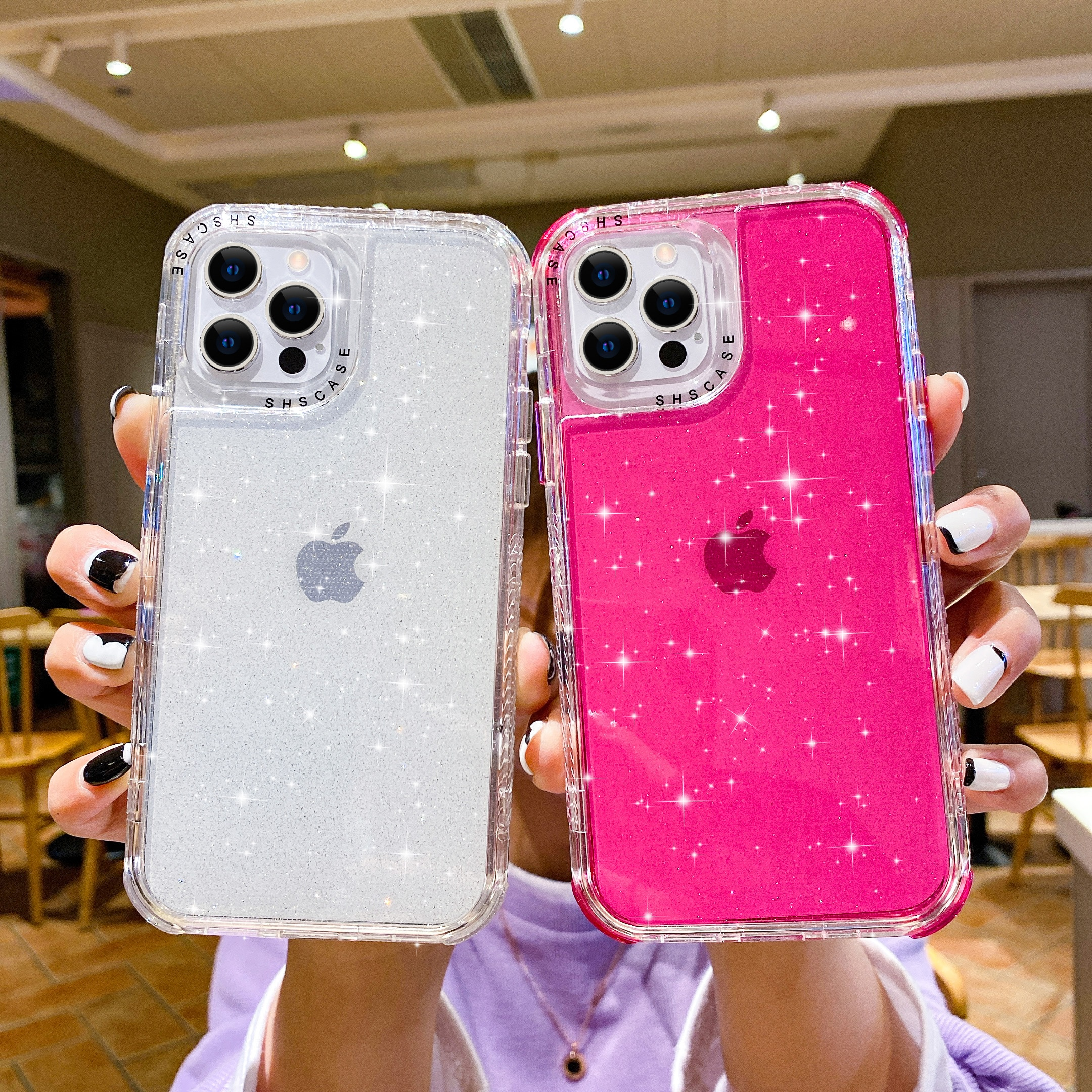 Transparent Glitter Shockproof Bumper Phone Case For iPhone 12 Pro Max Case For 12Mini 11 Pro Max 7/8 Plus Xs Max Xr Back Case