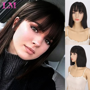 LIANGMO Short Bob Wig With Bangs for Women Synthetic Bob Wigs Black Pink Purple Wig for Party Daily Use Shoulder Length