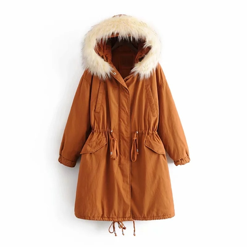 женская куртка 2020 Winter Fur Collar Waist Thickened Warm Mid-Length Hooded Loose Parker Tooling Padded Jacket Women