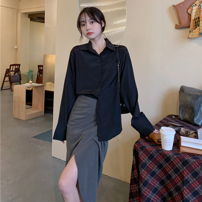 Skirt Women's Suit Autumn 2021 New Hong Kong Style Lazy Style, Wear Black Loose Medium And Long Sleeved Clothes