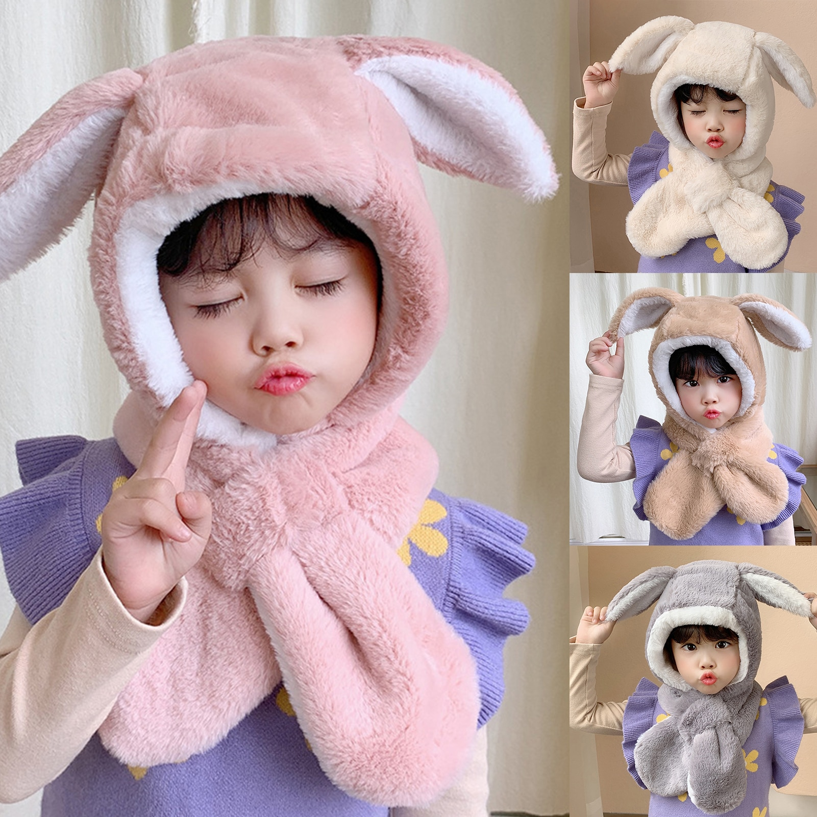 Sweet Baby Boys Girls Lovely Autumn Winter Cartoon Cute Rabbit Ear Plush Warm Hat Cap Neck Wrap Scarf kid toy