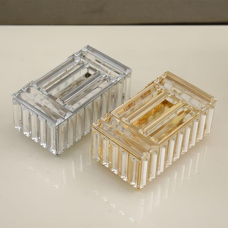 الأنسجة صندوق كريستال زجاج فاخر الحاويات سطح المكتب تخزين ورق تزيين علبة منشفة علبة منديل للفندق المنزل