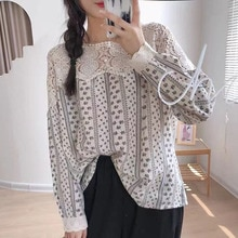 2021 Women Autumn Blouse Splicing Hollow Out Embroidery Printing Retro Korean Fashion Long Sleeve Pu