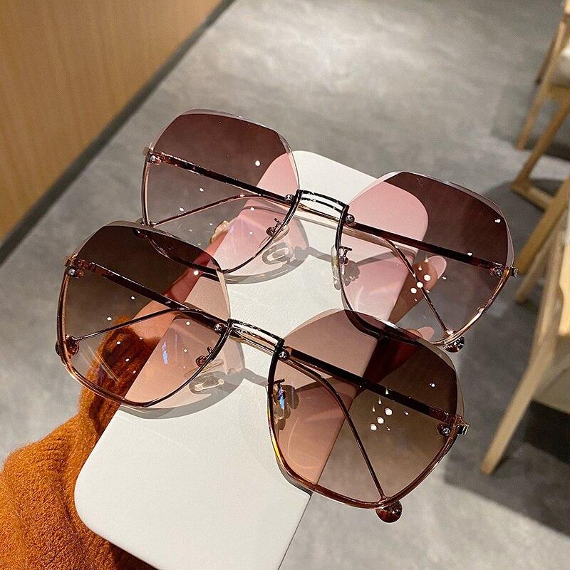 Солнечные очки без оправы LONSY UV400 женские, модные роскошные брендовые дизайнерские градиентные солнечные очки в ретро стиле