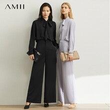 Amii printemps minimaliste Style français deux pièces costume ensemble femmes moderne loisirs parisien vent chemise pantalon large jambes 11930258