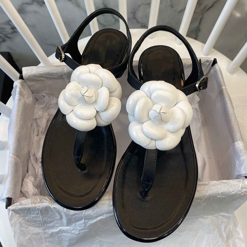 Prowow New Summr Floral Emblished Luxury Sandals Beach Vacation Flats Sandals Shoes Women