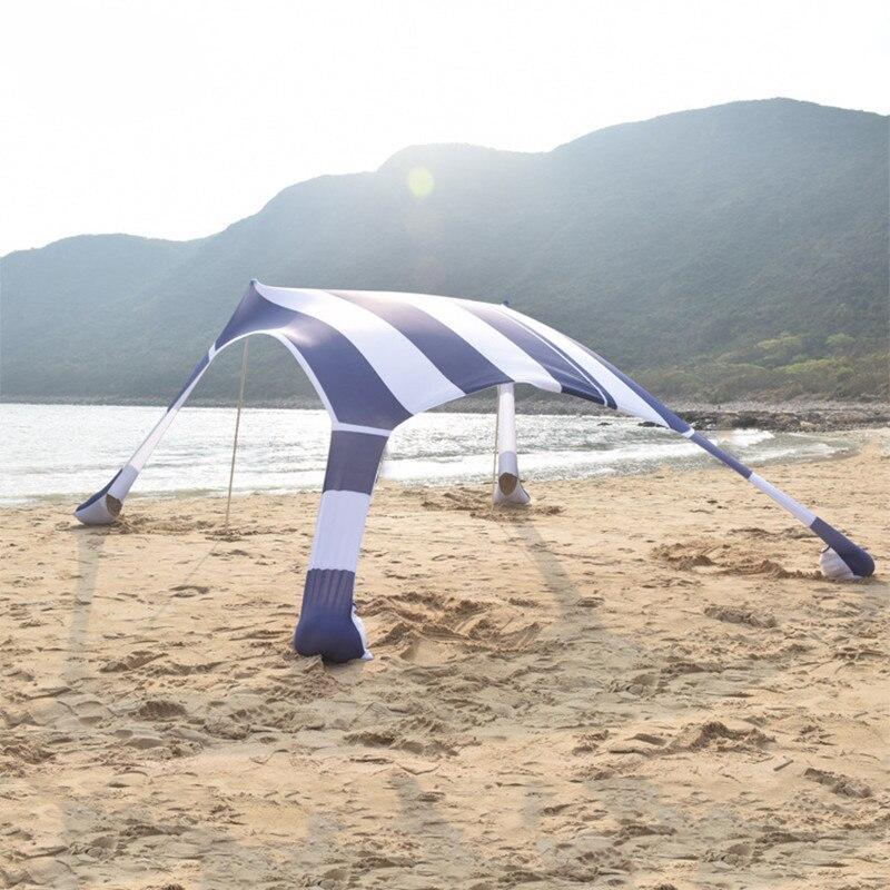 210*210*160cm Summer Tourist Sea Beach Tent Outdoor Awnings Tarp Canopy Sun Shade Shelter Parasol with Sand Bag 2 Aluminum Pole