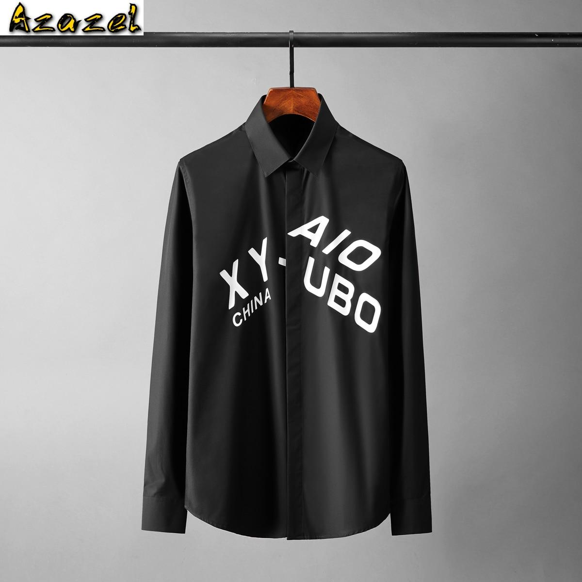 قمصان رجالي قطنية من Azazel عالية الجودة بأكمام طويلة ومطبوعة بأحرف عادية قمصان رجالي مناسبة قمصان رجالي للحفلات مقاس كبير