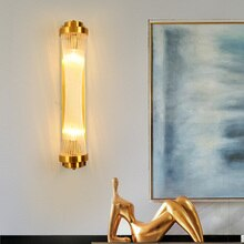 Modern glass K9 crystal wall light American art minimalist living room bedside study designer LED lights wall lamp