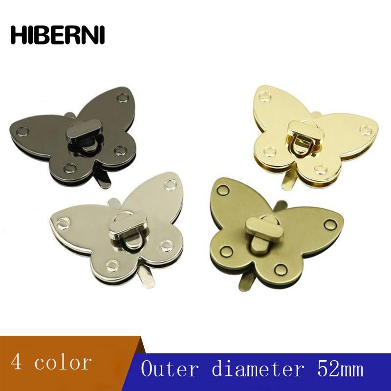 HIBERNI 2 PCS Metal Butterfly Twist Lock Handbag Bag Decoration Fixed Buckle Cross Metal Twist Lock