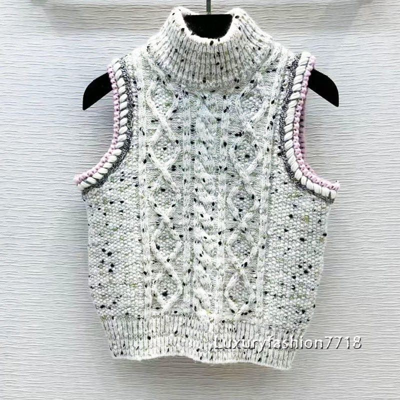 High end branded fashion clothes woman sweaters vests sleeveless Single breasted Crew neck vintage sweater vest women tank top