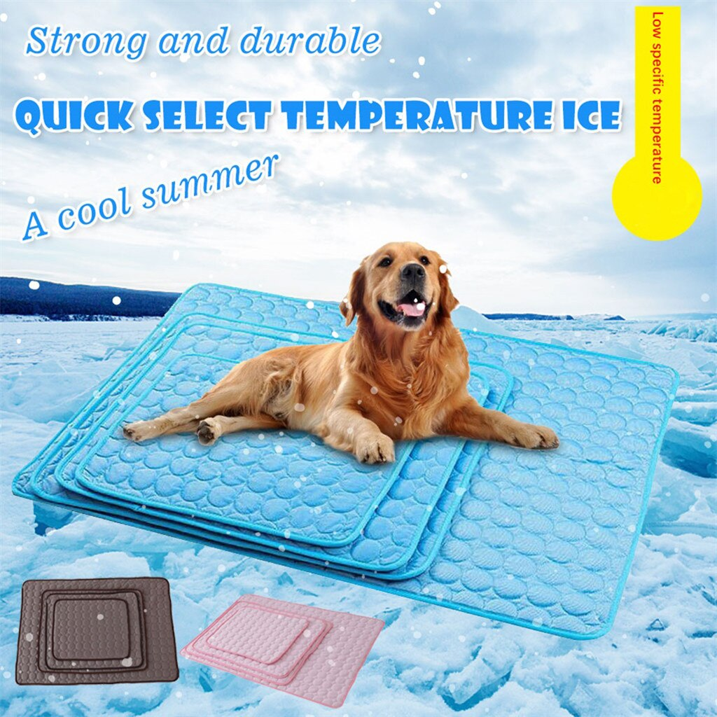 Dog Summer Cooling Mat 5 Size Pet Ice Pad Cold Silk Moisture-Proof Cooler Sofa Mats Portable Tour Sleeping Pet Accessories #F5