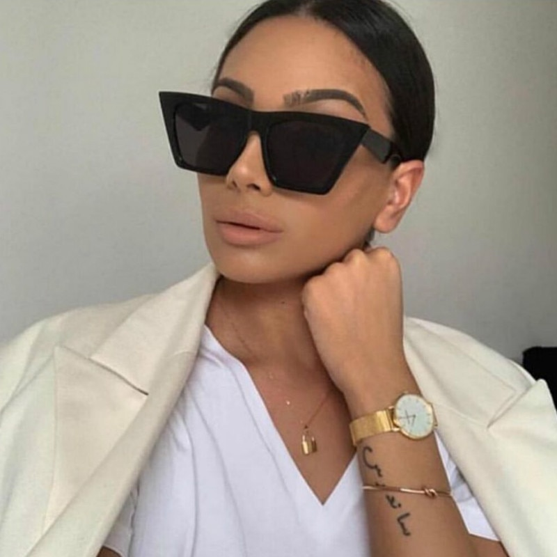 Evrfelan Retro Square Sunglasses Brand Desinger Cat Eye Sun Glasses Women Eyewear Chic Big Frame Gla