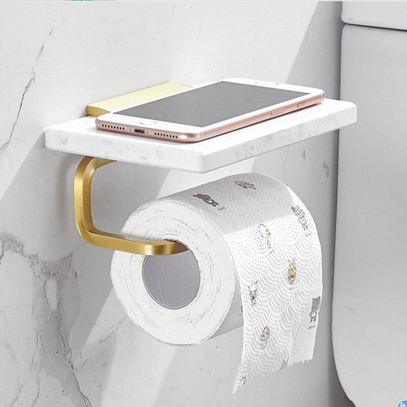 الرخام ورقة منشفة رف حامل ورق المرحاض جدار معلق صندوق ورقي هاتف محمول الجرف اكسسوارات الحمام نحى الذهب منشفة بار