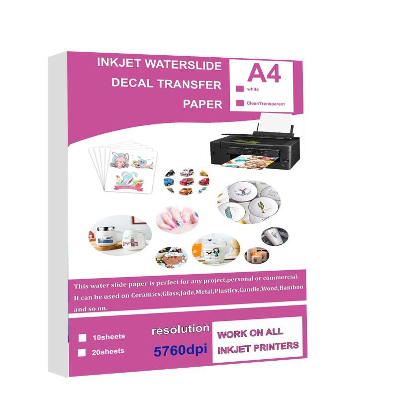 10/20 Sheets DIY A4 Inkjet Waterslide Decal Transfer Paper Sheets White Transparent Clear for Inkjet Printer High Resolution DIY