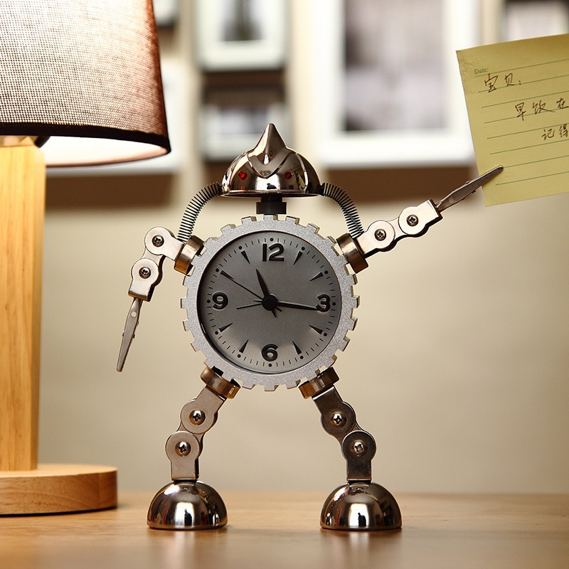 Deformation robot Alarm Clock creative students small alarm clock cute children cartoon desk clock metal Alarm Clock  - buy with discount