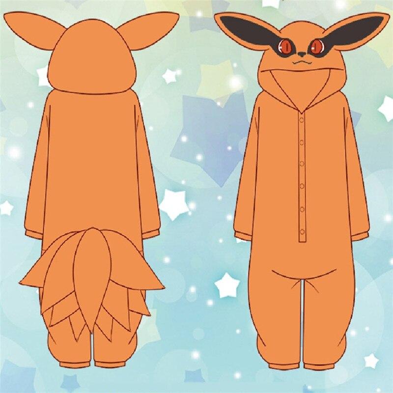 Pijama de Flanela para Cosplay de Anime Macacão de Flanela para Homens e Mulheres Kurama Nine Tail Fox