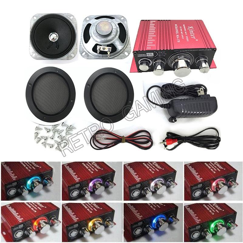 ممر لعبة طقم الصوت HIVI مكبر صوت استيريو + محول الطاقة + مكبر صوت + كابلات لآلات لعبة خزانة الممرات