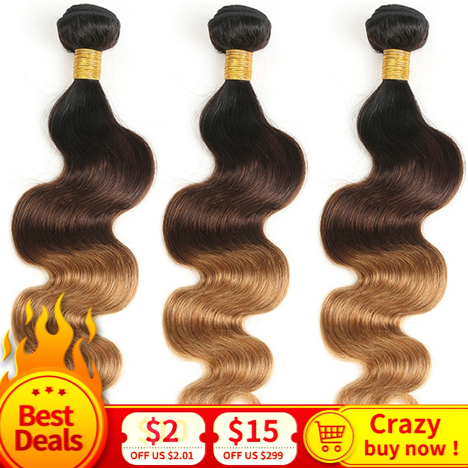 Ombre Haar Brasilianische Haar Körper Welle 1b/4/30 27 3 Ton Remy Ombre Menschliches Haar Weave Bundles 3/4 Stück 8-26 Inch meche bresilienne