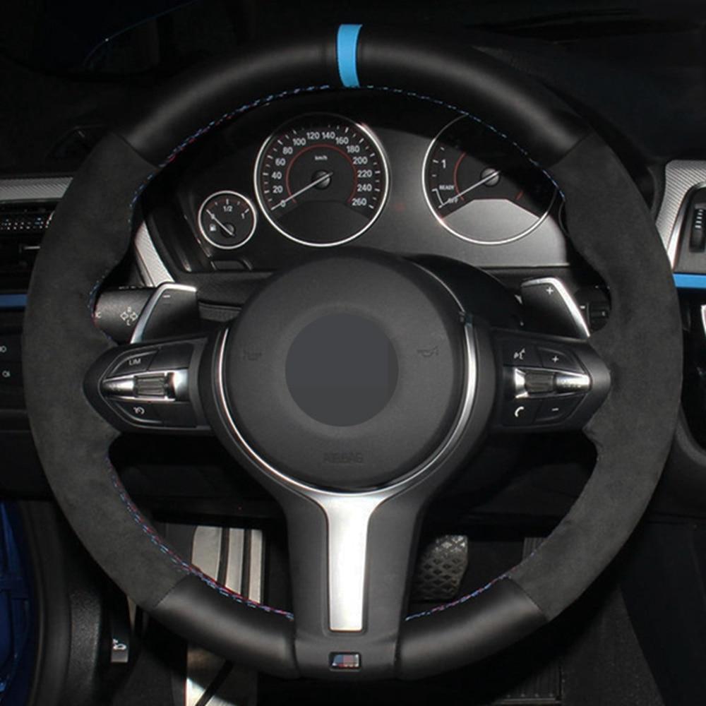 Cobertura de Volante de carro DIY Preto Genuíno Couro Camurça Para BMW F87 M2 F80 M3 F82 M4 M5 F12 F13 M6 F85 X5 M F86 X6 M F33 F30 M