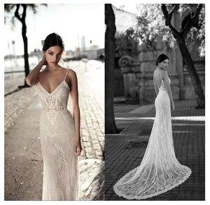 Lace Wedding Dress Vestidos de novia Spaghetti Straps Lace Sexy Bridal Gown Elegant Backless Wedding Gowns With Train