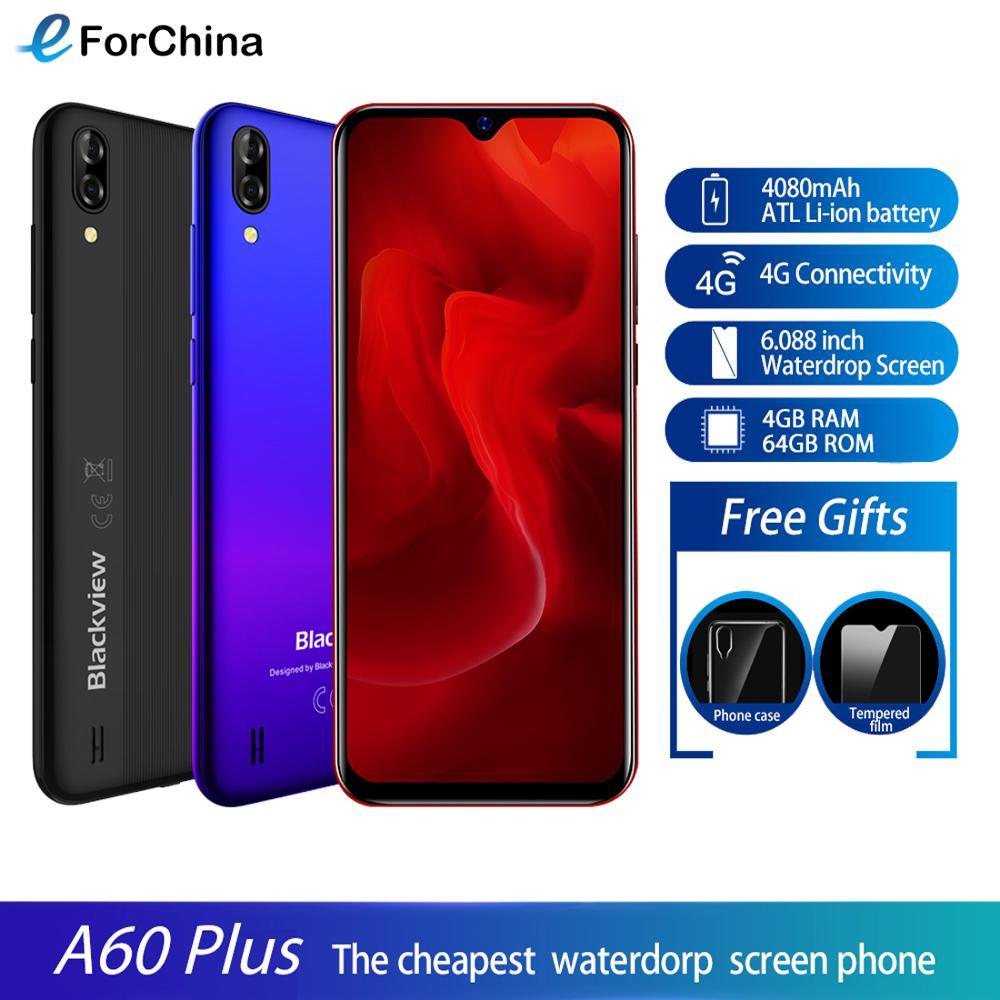 Blackview A60 Plus смартфон 4 Гб + 64 Гб 6,088 дюйм в виде капли воды, Экран 4080 мА/ч, MTK6761V/ВБ 4 ядра Android 10 Мобильный телефон Face ID 4G
