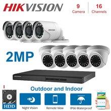 1080P 2MP HIKVISION 16 canaux XVR enregistreur de vidéosurveillance hybride avec dôme 2MP et KITS de caméra de sécurité de balle