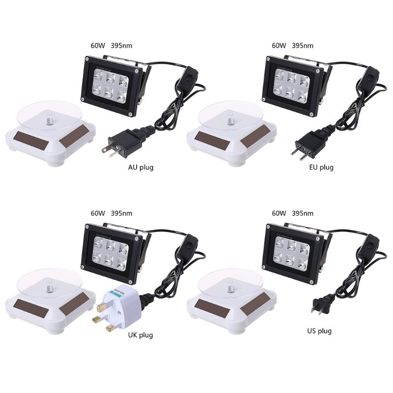 60w alta resistência 395nm uv led resina cura luz lâmpada mesa giratória alimentado a energia solar 3d impressora parte