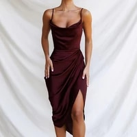 spaghetti strap sexy elegant dresses with slit summer clothes for women pleated low neck slim light party dress 2021 solid color